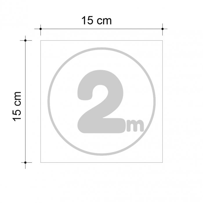 Sticker informativ Distanta 2m, 15x15cm 2