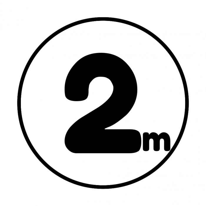 Sticker informativ Distanta 2m, 15x15cm 0
