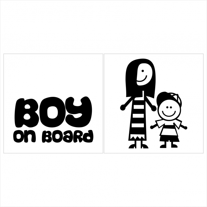Stickere Boy on board 15x15cm x 2 foi, rezistent la uzura 0