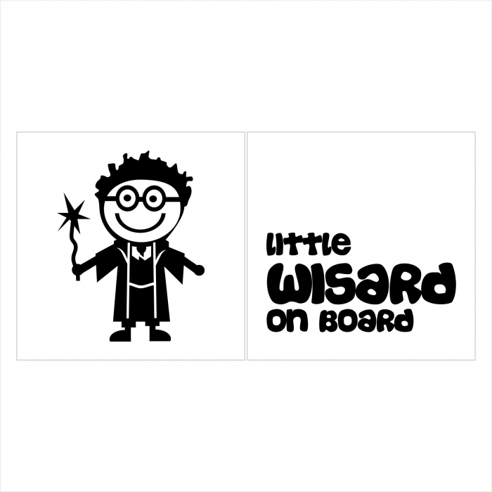 Stickere Little Wisard on board, 15x15cm x 2 foi, rezistent la uzura 0