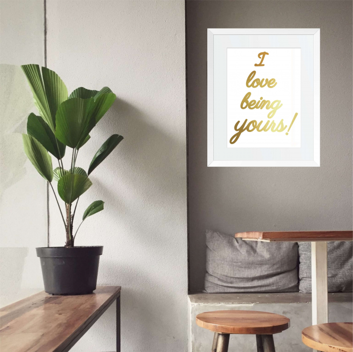Tablou decorativ I love being yours, colaj manual auriu stralucitor Anais, inramat, 24x30 cm 1