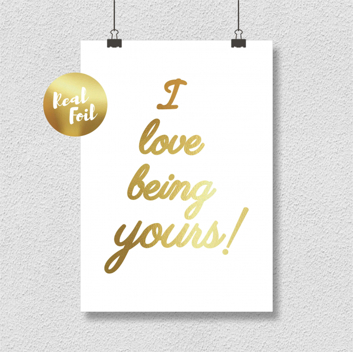 Tablou decorativ I love being yours, colaj manual auriu stralucitor Anais, inramat, 24x30 cm 4