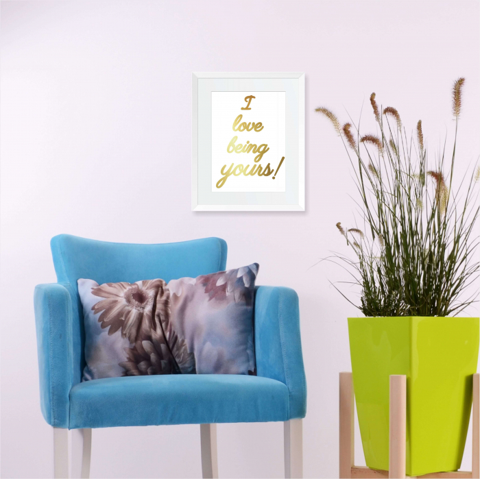 Tablou decorativ I love being yours, colaj manual auriu stralucitor Anais, inramat, 24x30 cm 2
