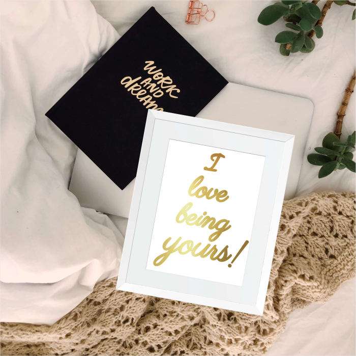 Tablou decorativ I love being yours, colaj manual auriu stralucitor Anais, inramat, 24x30 cm 3