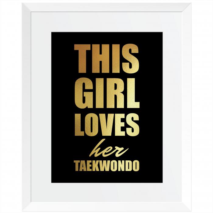 Tablou decorativ, motivational, Taekwondo, arte martiale, auriu stralucitor Anais, inramat, 24x30 cm [1]