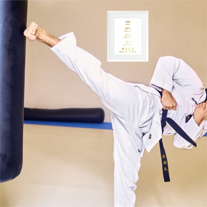 Tablou Principii Taekwondo, arte martiale, auriu stralucitor 1