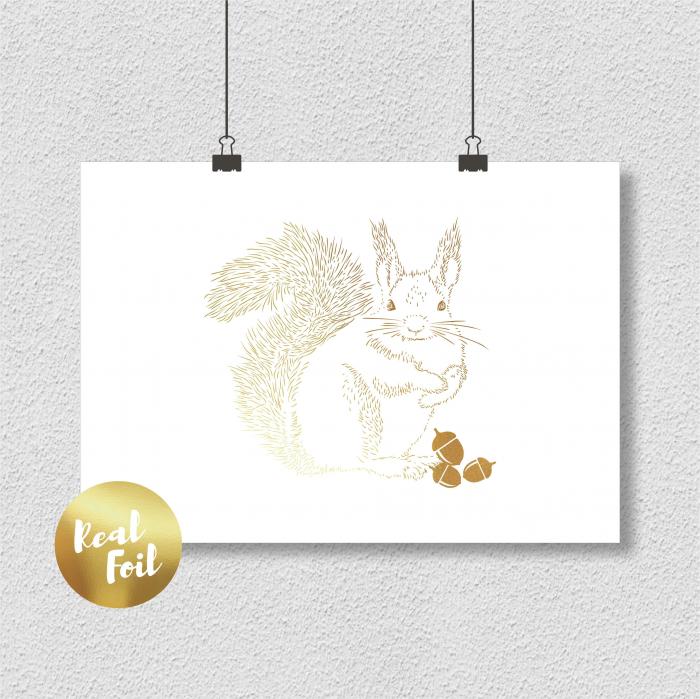 Veverita cu ghinde, colaj metalic auriu, animalele padurii 3