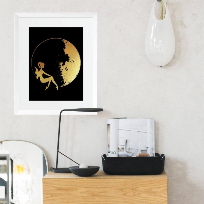 Tablou Luna si Zana, colaj metalic auriu, cadou pentru ea 5