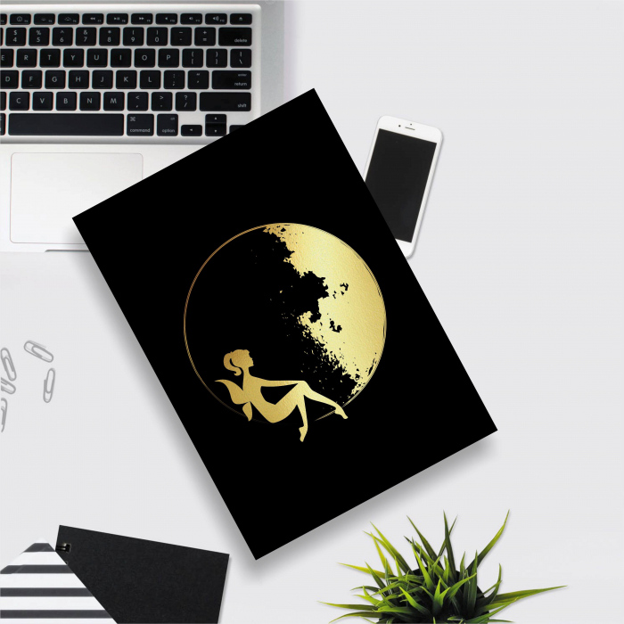 Tablou Luna si Zana, colaj metalic auriu, cadou pentru ea 2