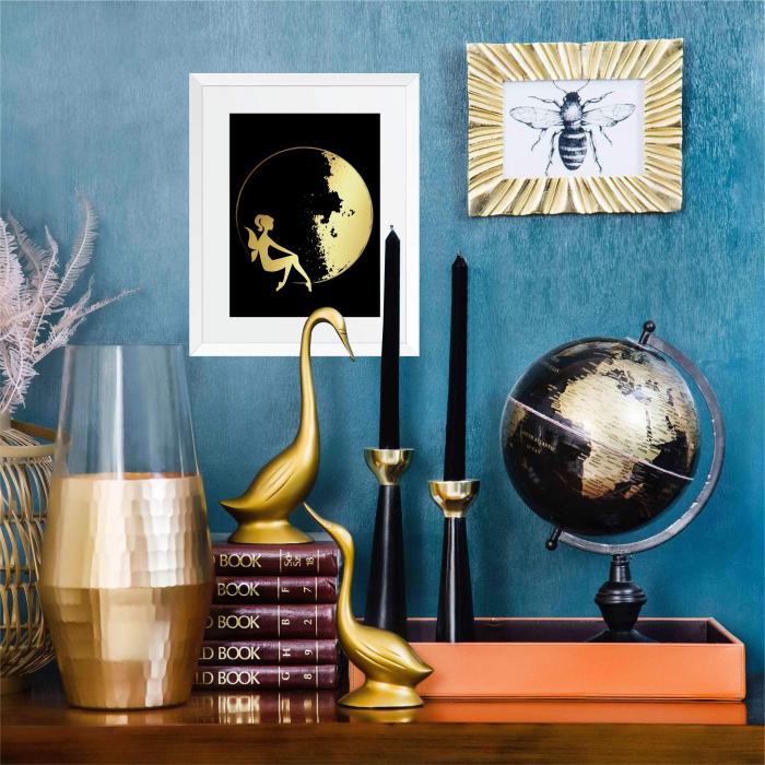 Tablou Luna si Zana, colaj metalic auriu, cadou pentru ea 4