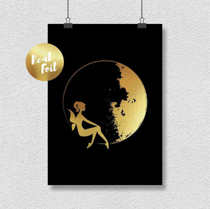 Tablou Luna si Zana, colaj metalic auriu, cadou pentru ea 3