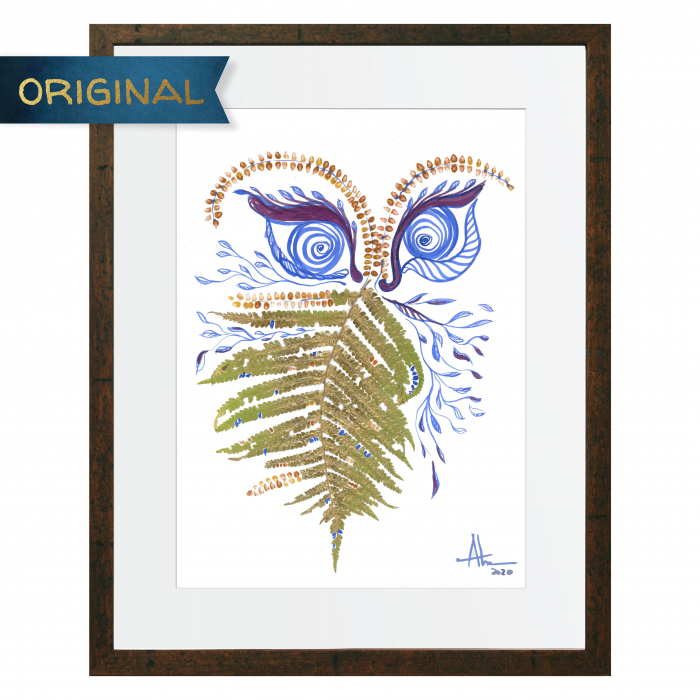 Feriga Barba - ilustratie in tehnica mixta, plante presate, tus si vopsea acrilica 0