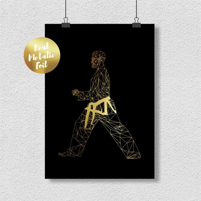 Tablou Arte Martiale, Taekwondo, colaj metalic auriu [0]