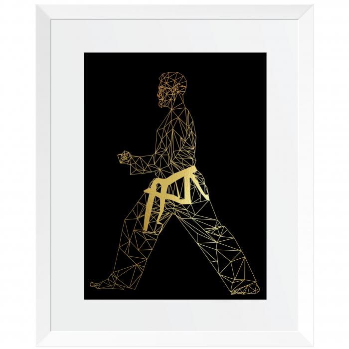 Tablou Arte Martiale, Taekwondo, colaj metalic auriu [1]