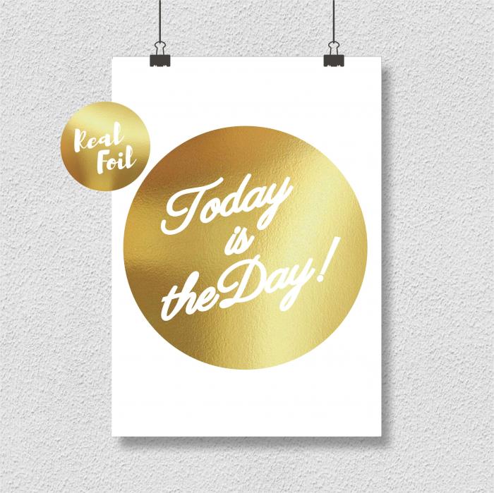 Today, colaj metalic auriu, mesaj inspirational 3