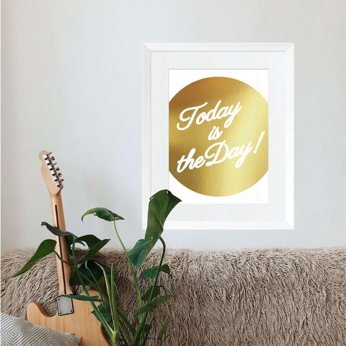 Today, colaj metalic auriu, mesaj inspirational 1
