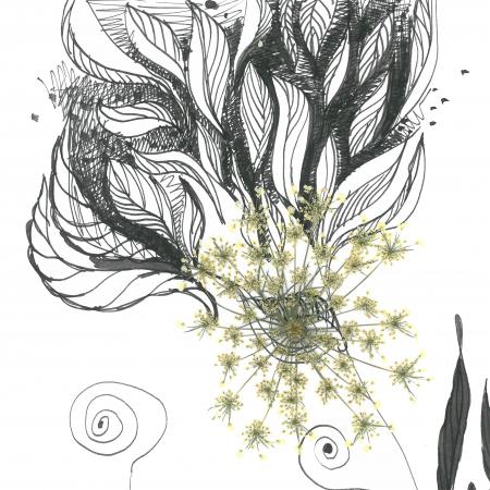 Tablou original Valentin,  tehnica mixta, tus pe hartie si plante presate;2