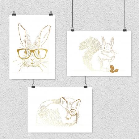 Animalele padurii, set 3 postere 30x40cm, Veverita, Vulpea si Iepurele, dimensiune 24x30cm/buc0