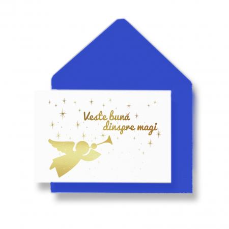 Cadou Tablou de iarna Cal, colaj metalic auriu pe carton albastru-închis, instalatie microled si felicitare5