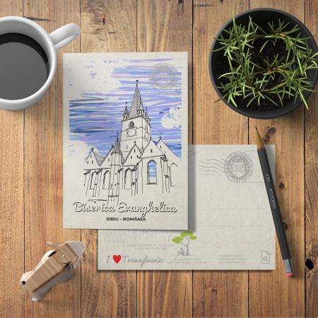 Carte postala, Biserica Evanghelica, Sibiu2