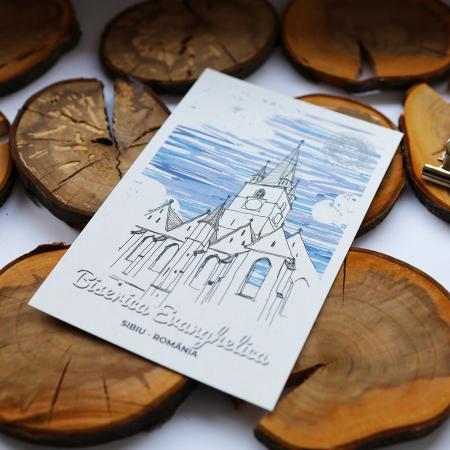 Carte postala, Biserica Evanghelica, Sibiu3
