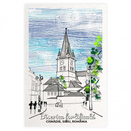 Carte postala Cisnadie, Sibiu, Biserica fortificata [0]