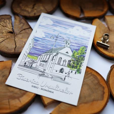Carte postala model Biserica Ursulinelor, suvenir Sibiu [5]
