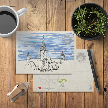 Carte postala Silueta Oras Sibiu [2]