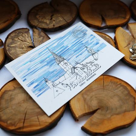 Stand cu 4 seturi de carti postale si 1 set caiet de schite, Sibiu3