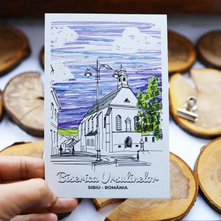 Stand cu 4 seturi de carti postale si 1 set caiet de schite, Sibiu4