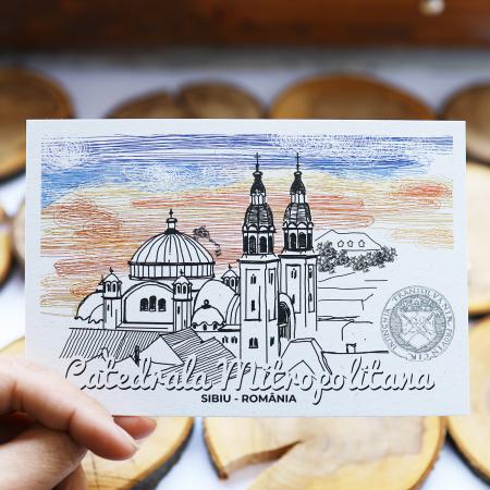 Stand cu 4 seturi de carti postale si 1 set caiet de schite, Sibiu5