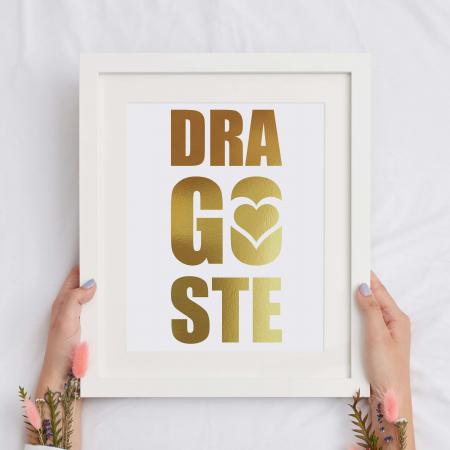 Tablou Dragoste, 24x30cm, colaj metalic auriu, cadou pentru voi2
