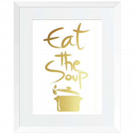 Tablou Eat the soup, 24x30cm, colaj metalic auriu1