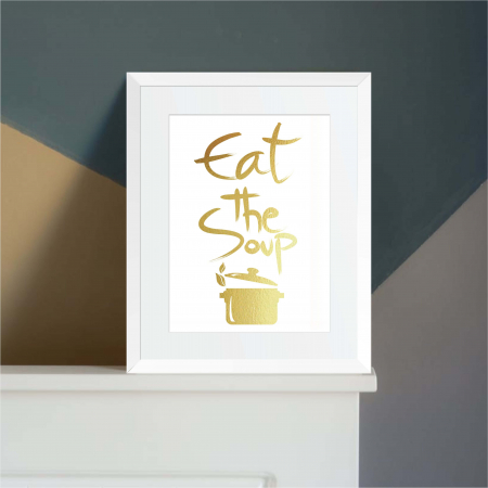 Tablou Eat the soup, 24x30cm, colaj metalic auriu3