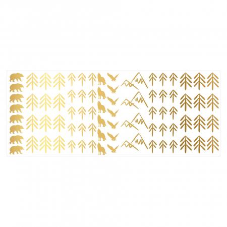 Munti, sticker decorativ decupat, auriu mat, pentru interior2
