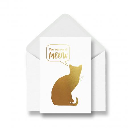 Felicitare cu plic, Cat Meow, mesaj ingragostiti, colaj metalic auriu0
