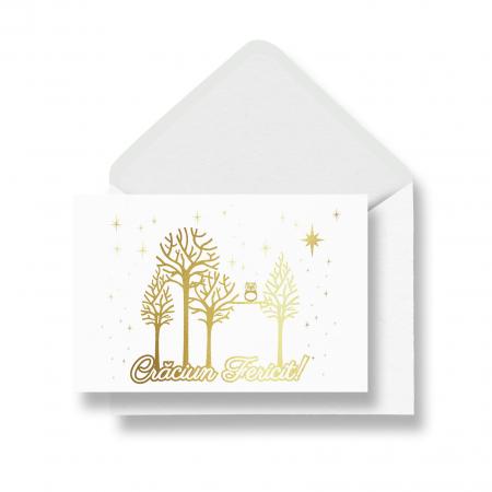Felicitare cu plic, Copaci cu Bufnita, model de iarna, colaj metalic auriu, cadou de Craciun [0]