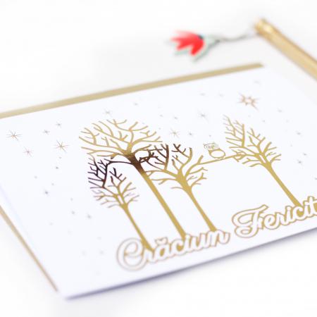 Felicitare cu plic, Copaci cu Bufnita, model de iarna, colaj metalic auriu, cadou de Craciun [3]