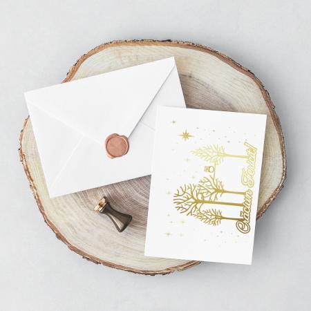 Felicitare cu plic, Copaci cu Bufnita, model de iarna, colaj metalic auriu, cadou de Craciun [1]