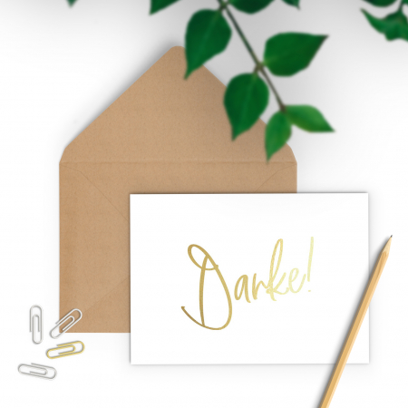 Felicitare cu plic, Danke, colaj auriu, caligrafie1