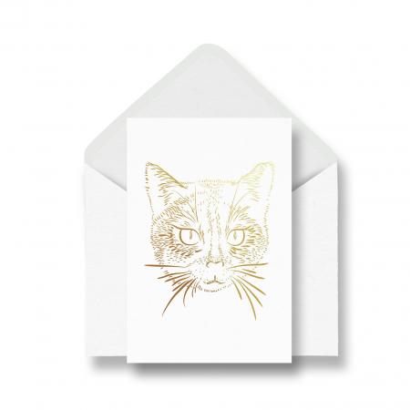 Felicitare cu plic, Pisica, colaj metalic auriu [0]