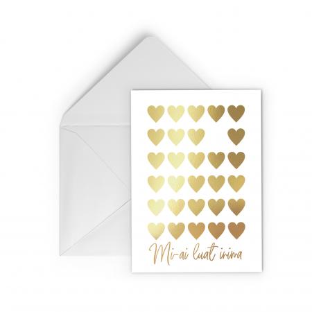 Felicitare, Mi-ai luat inima, colaj auriu manual, caligrafie, Valentine's Day [0]