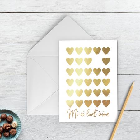 Felicitare, Mi-ai luat inima, colaj auriu manual, caligrafie, Valentine's Day [1]