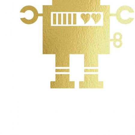 Felicitare cu plic,  Robot indragostit, colaj auriu3