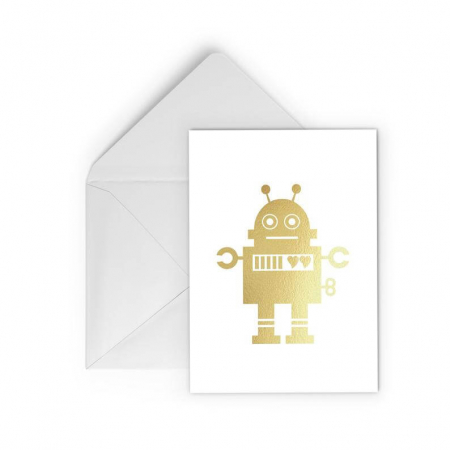 Felicitare cu plic,  Robot indragostit, colaj auriu0