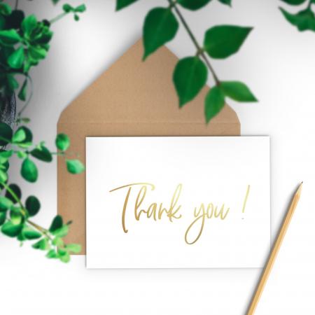 Felicitare cu plic, Thank you, colaj auriu, caligrafie1