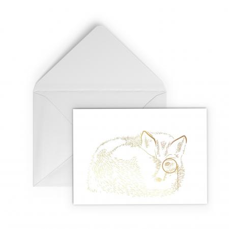 Felicitare cu plic, Vulpea cu monoclu, colaj auriu, ilustratie originala, animalele padurii0