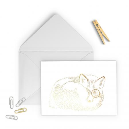 Felicitare cu plic, Vulpea cu monoclu, colaj auriu, ilustratie originala, animalele padurii1