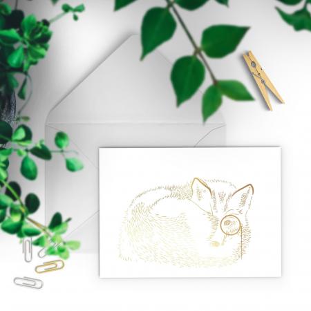 Felicitare cu plic, Vulpea cu monoclu, colaj auriu, ilustratie originala, animalele padurii2