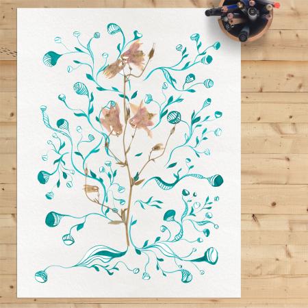 Tablou original Floare Copac, 30x40cm, tehnica mixta, plante presate, tus si vopsea acrilica4